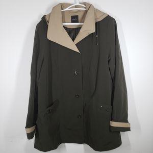 Collection M rain coat hooded kaki green s…
